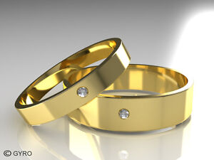 Premium Quality Gold Diamond Set Band His & Hers set of Wedding Rings Hallmarked