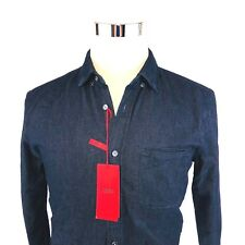 Hugo BOSS Encino Slim Indigo Cotton Stretch Button Front Shirt Heavyweight Men