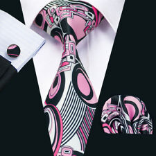USA Classic Mens Ties Silk Pink Novelty Necktie Handkerchief Set Woven Party