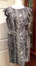 BNWT TU GREY BLACK & CREAM ANIMAL PRINT PEPLUM WIGGLE DRESS - Size 16