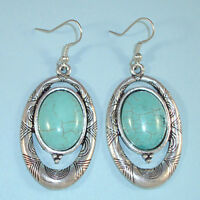Turquoise Oval Stone Etched Silver Southwest Style Vintage Look Earrings USA