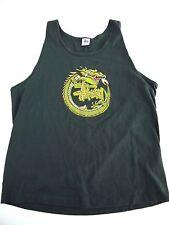 VINTAGE 90s STUSSY tank top t shirt mens XL MADE IN USA dragon RARE