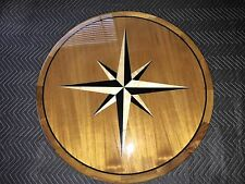 """33"""" round Teak Boat/Yacht/RV Table with gloss epoxy and star rose"""