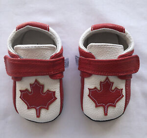 Jack & Lily My Mocs NWOB 6-12 Mo. Sz4 Red&White Shoe W/Red Maple Leaf, Hook&Loop