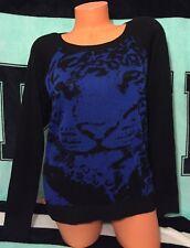 Forever 21 Tiger Royal Blue/Black Sweater Size Medium NWT