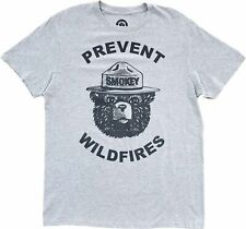 Men's Smokey The Bear Prevent Wildfires Grey Vintage T-Shirt Retro Vintage Tee