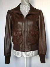 Ladies Leather Jacket UK 16 Brown Bomber Zip Down Lined  PrIncess Sleeve Pintuck