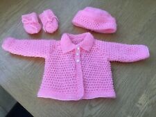Hand Knitted Baby Cardigan Matinee Set Jacket Hat And Mittens