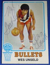 WES UNSELD HOF signed autograph 1973-74 Topps Baltimore Bullets