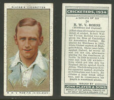 PLAYER'S 1934 CRICKETERS R.W.V.ROBINS Card No 24 of 50 CRICKET CIGARETTE CARD