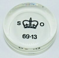 Vintage Crown Glass Paperweight S O 69.13 1950s Her Majesty's Stationery Office