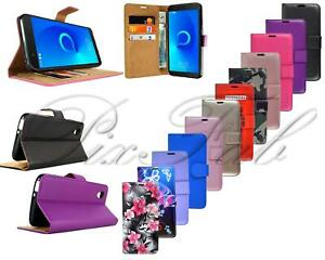 For Alcatel 1 5033X New Stylish Genuine Black Leather Wallet Phone Case Cover