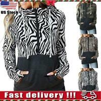 Women Zipper Hooded Leopard Print Casual Loose Long Sleeve Blouse Pullover Tops