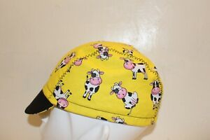 CYCLING CAP A BEAUTIFUL LITTLE COW  100% COTTON HANDMADE IN USA S/M/L