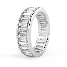 Bargain ! 5.5mm 3.50 Ct Baguette Diamond Full Eternity Ring,Hallmarked Platinum