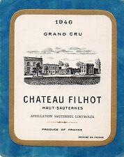 SAUTERNES 1E GCC VIEILLE ETIQUETTE CHATEAU FILHOT 1946 RARE  §30/03/17§