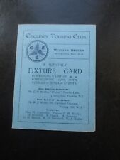c 1925 CYCLISTS TOURING CLUB MONTHLY FIXTURE CARD WESTERN DIVISION CYCLING