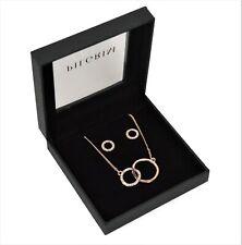 Pilgrim Rose Gold & Crystal Interlock Circle Necklace and Earrings Jewellery Set