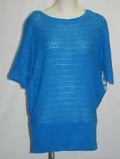 ANNE KLEIN Blue Knit Boat Neck Short Sleeve Top / Sweater 0X $109 NWT Plus Size