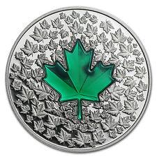 2014 Canada 1 oz Silver $20 Maple Leaf Impression (Green Enamel) - SKU #84538