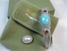 Authentic Judith Ripka Designer Sterling Genuine Gemstone Cuff Bangle Bracelet