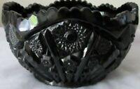 "Tiara Indiana Glass Black Monarch Paneled Daisy Button Scalloped 8"" Center Bowl"