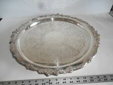 """Large Vintage 19""""silverplate/on copper round tray Nice for Holidays . Display/Se"""