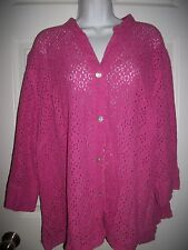 Ruby Road Favorites Women's Pink Floral Lace Shirt Top Size 22W