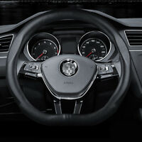 """Universal Size M15"""" Steering Wheel Cover D shape Black Leather Sport Racing"""