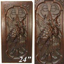 "Antique Black Forest Style Carved Oak 24"" Panel, Hunt Theme, Furniture, Cabinet"