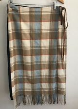 MARLBORO CLASSICS Womens Blanket and Denim Skirt EU 46 Wool Plaid Fringe US 16