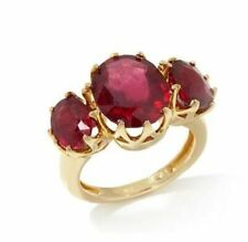 Rarities Yellow Vermeil Three Stone Ruby Ring Sterling Silver Size 6 & 8