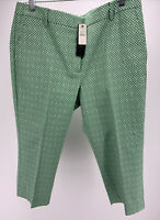 NWT Talbots Petites Heritage Pants Cropped Green/White Patterned Size 12p NEW