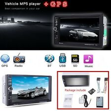 "New 2-Din 12V 7"" HD Car In-Dash GPS Navigation +MP5 Player FM USB/AUX +SD (8 G)"