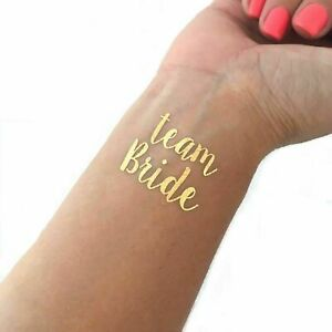 18 Team Bride Temporary Hen Party Bride To Bed Tattoos Gold Foil Transfer