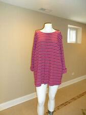 Croft&Barrow Women's plus Boat neck 3/4 Sleeve Top Pink Striped 100%Cotton 3XNEW