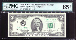 1976 $2 Federal Reserve Note Chicago Fancy Serial LADDER #G78216345A PMG 65EPQ