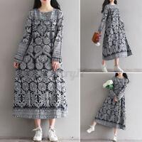 UK Womens Floral Beach Long Dress Ladies Cotton Linen Loose Kaftan Party Dresses