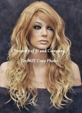 HEAT Safe Fiber Loose WAVY Strawberry blonde mix Wig WBGA T27-613