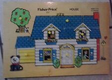Fisher-Price HOUSE PUZZLE wood tray 1971-74 Quaker Oats Co 513 Little People VTG