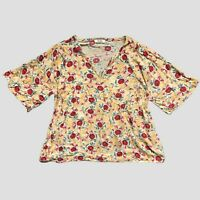 Fat Face Dandelion Yellow Red Floral Kayla Bali Relaxed Fit Blouse 12 - B30