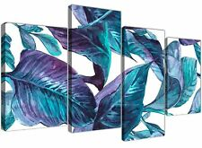 Large Turquoise and White Tropical Leaves Canvas Art Prints - Multi 4 Set - 4323