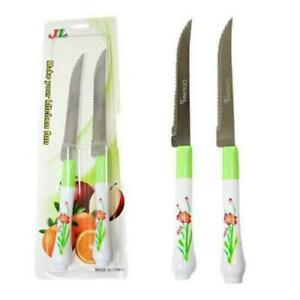 STEAK KNIVES SET Stainless Steel Kitchen Cutlery Meat Serated Woden 2x, 4x & 6x