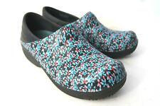 CROCS 204046 Womens 7M Neria Pro Nursing Shoes Clogs Black Blue Floral