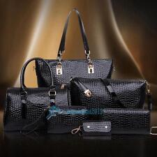 6PCS Fasion Handtasche Set Leder Schulter Messenger Tote Geldbörse Damen Tasche