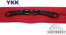 Genuine YKK Nylon Coil Zipper Tape # 5 Red 10 yards with 20 Black Sliders