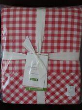 4P Pottery Barn Red Gingham Check Organic King Sheet Set NWT Red White Christmas
