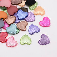 Acrylic Flat Fancy HEART Shapes 14mm, cabochon flatbacks, 50 pcs mixed cab0038