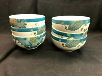 222 Fifth ELIZA-TEAL Cereal Bowl Set of 6! Excellent!