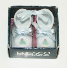 """Enesco Precious Moments """"Baby's First Christmas 1992"""" Baby Shoes"""